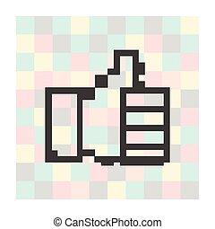 pixel, ícone, polegares cima, ligado, um, quadrado, fundo