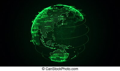 Pixel 3D planet Earth with big data animation. Rotating globe, shining continents with floating numbers. Abstract cyber animation with depth of field and glow. 4K, loop, UHD ProRes