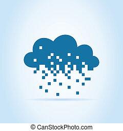 Pixel a cloud - Cloud made of pixels. A vector illustration