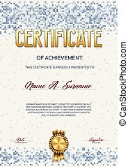 pixel, achievement., certificado, design.