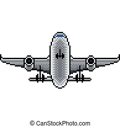 Pixel airplane isolated vector