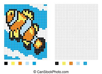 Pixel anemone clownfish cartoon in the coloring page with numbered squares