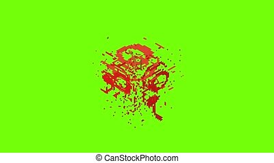 Pixel apples icon animation cartoon object on green screen background