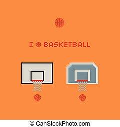 Pixel art 8-bit basketball rings, balls, net - vector icon illustration on yellow background