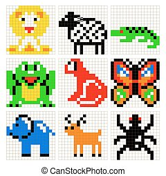Cross Stitch Pixel Art Frog Animals Vector Set Cross Stitch