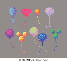 Pixel art balloons set. - Pixel art cute balloons set. ...