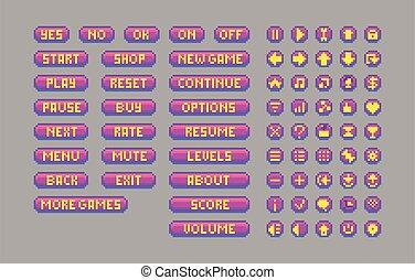 Pixel art bright buttons. Decorative GUI elements.