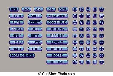 Pixel art bright buttons.