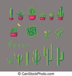 Pixel art cactus set. - Pixel art different types of cactus ...