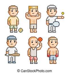 Pixel art collection athletes