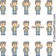 Pixel art collection of different emotions