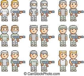 Pixel art collection of soldiers