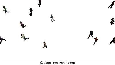 Pixel art crowd animation