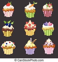 Pixel art cupkakes on a gray backgrownd
