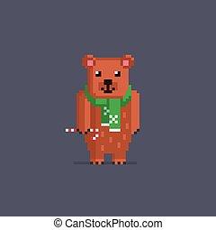 Pixel art cute bear. - Pixel art cute brown bear. Vector ...
