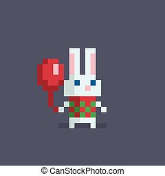 Pixel art cute rabbit. - Pixel art cute rabbit with a ...