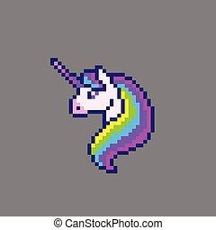 Pixel art cute unicorn head. Vector illustration.