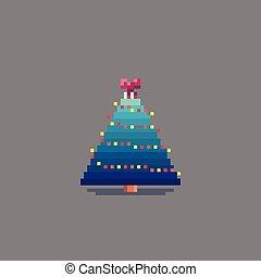 Pixel art decorated christmas tree. Vector illustration.