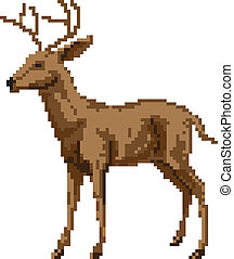 A pixel art style deer illustration of a buck or stag