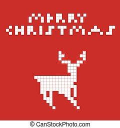 Pixel art deer - Vector illustration of a pixel art deer.