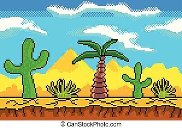 Pixel art desert background detailed vector illustration
