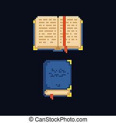 Pixel art design 8 bit retro icon - opened and closed book