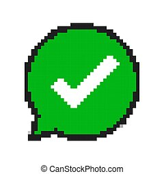 Pixel art design of green check mark. Vector illustration.