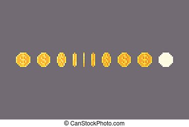Pixel art dollar coin animation. Vector illustration