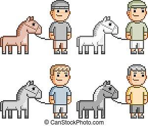 Pixel art equestrians