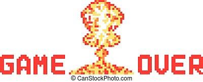 pixel art explosion like game over vector illustration