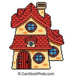 Pixel art fairy tale house detailed isolated vector