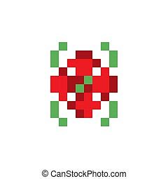 Pixel art flower vector icon