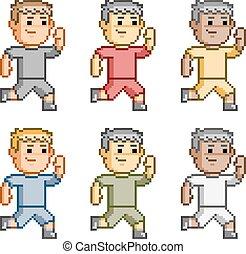 Pixel art funny runners