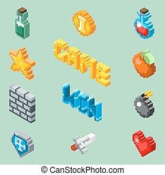 Pixel art game icons. 8 bit isometric pictograms vector