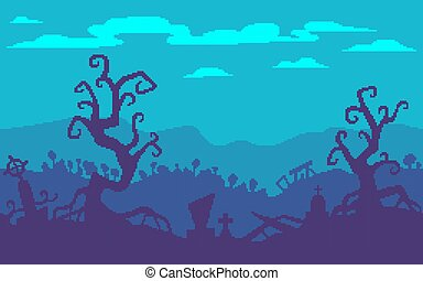 Pixel art game location. A haunted forest with graves.