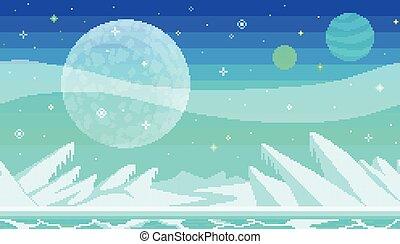 Pixel art game location. Cosmic area, someone frozen planet ...