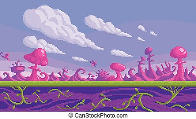 Pixel art game location. Cute pink mushrooms area. Seamless ...
