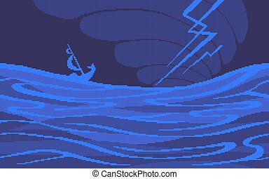 Pixel art game location. Thunderstorm at sea.