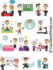 Pixel Art Good Man's Resolutions - 12 Cliparts of Good Man's...
