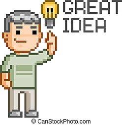 Pixel art great idea - Vector pixel art great idea for ...