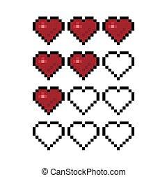 Pixel art heart for game vector illustration