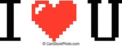 Pixel Art Heart I Love You Color Icon Valentine Pixel Art