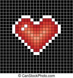 Pixel art heart. Love sign on black in white cell