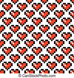 Pixel art heart seamless pattern. - Pixel art heart retro 8...