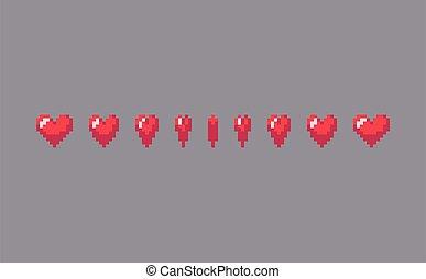 Pixel art heart sign animation. Vector illustration.