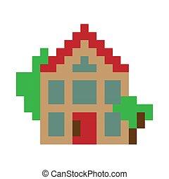 Pixel art house - Simple pixel art house icon