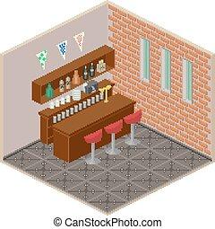 Pixel art isometric bar interior