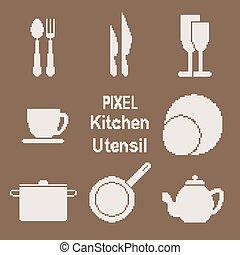 Pixel art kitchen utensil icons