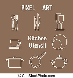 Pixel art kitchen utensil icons