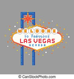 Pixel art Las Vegas sign. Vector illustration.